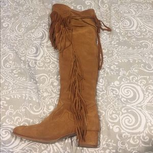 Zara Over the Knee Fringe Boot